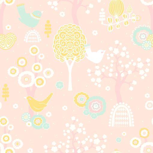 Cheery Valley - Pink Wallpaper by Majvillan