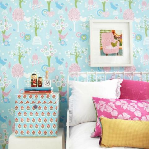 Cheery Valley - Blue kids wallpaper
