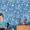 Dragon Sky - Dark Blue kids dragon wallpaper