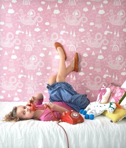 Dragon Sky - Pink kids wallpaper