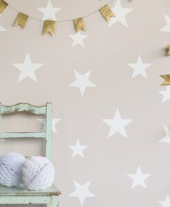 Hibou Stars Wallpaper - Blush White