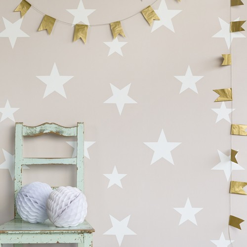 Hibou Stars Wallpaper - Blush White