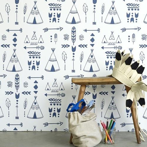 Hibou Teepee Wallpaper for kids - Blue