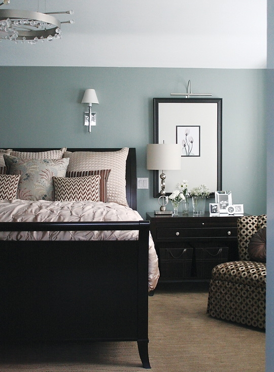 Bedroom design ideas - cool blue bedroom with dark furniture