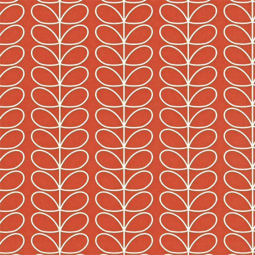 Linear stem wallpaper by Orla Kiley - poppy