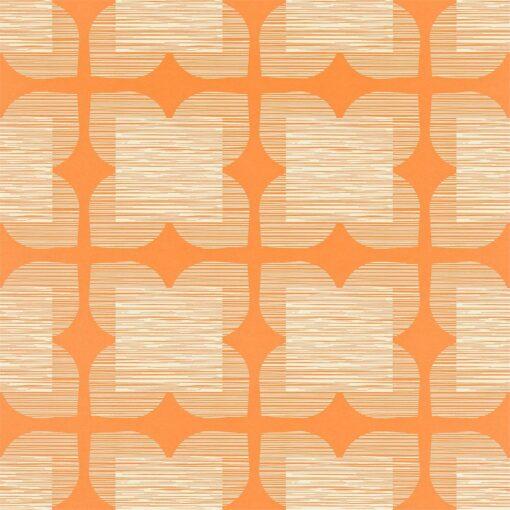 Flower Tile - Orla Kiely Wallpaper - Clementine