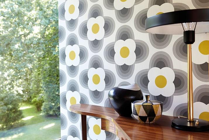 Harlequin Striped Petal Wallpaper Orla Kiely