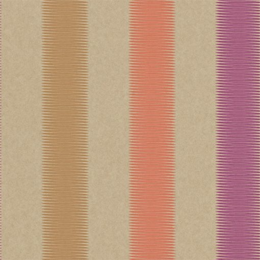 Tambo striped wallpaper - Papaya, Mustard and Loganberry