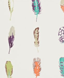 Limosa feather wallpaper - Loganberry, papaya and lagoon