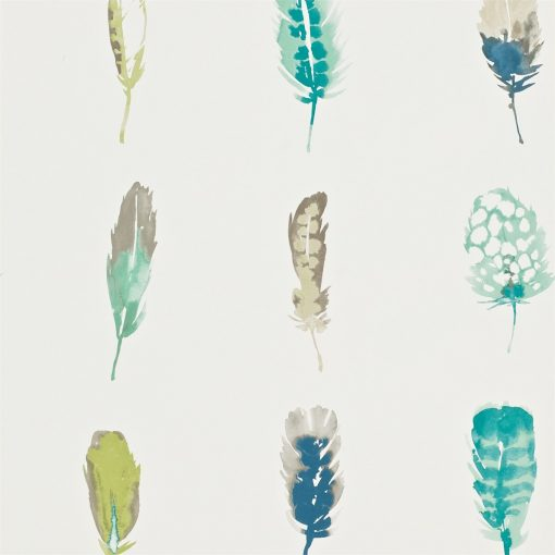 Limosa feather wallpaper - Lagoon, zest and gooseberry