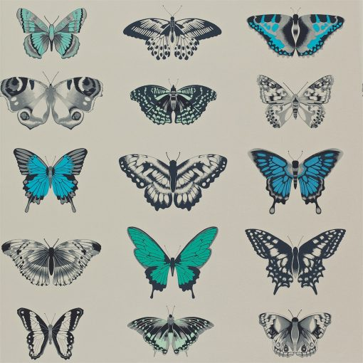 Papilio butterfly wallpaper - Lagoon, Indigo and Emerald