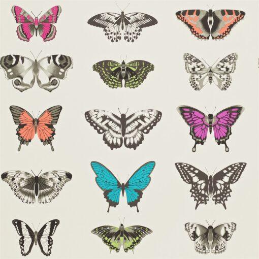 Papilio wallpaper - Flamingo, Papaya and Olive