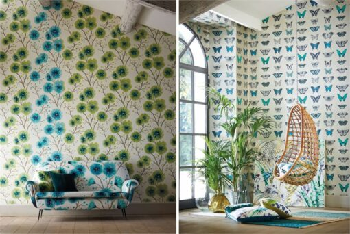 Kabala and Papilio wallpapers, part of the Amazilia collection by Harlequin Wallpaper