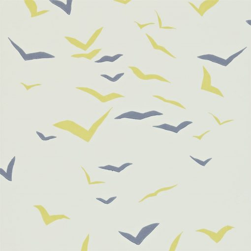 Flight wallpaper in Chalk, Sunflower and Graphite. Part of the Melinki Collection by Scio