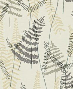 Athyrium wallpaper in Chalk, Pewter and Biscuit. Part of the Melinki Collection by Scio