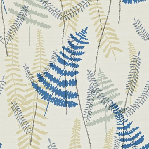Athyrium wallpaper in Chalk, Denim and Biscuit. Part of the Melinki Collection by Scio