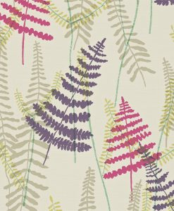Athyrium wallpaper in Plum, Fuchsia, Linen and Lime. Part of the Melinki Collection by Scio