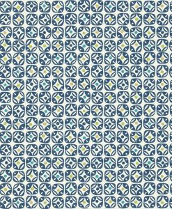 Miro wallpaper in Indigo, Neutral, Teal and Olive. Part of the Melinki Collection by Scio