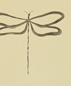 Dragonfly wallpaper, part of the Melinki Collection by Scion - Gilver, Charcoal & Biscuit