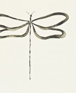 Dragonfly wallpaper, part of the Melinki Collection by Scion - Chalk, Granite & Gilver