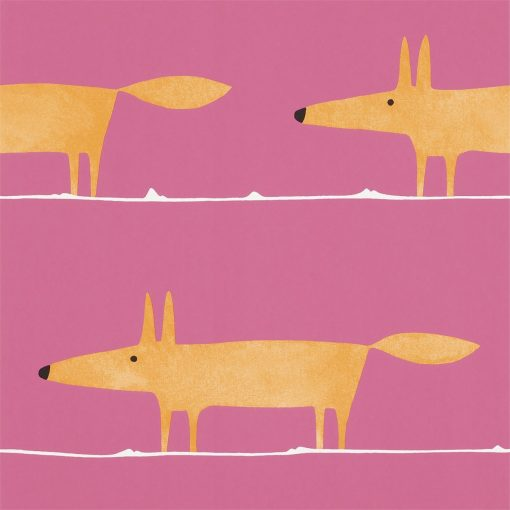 Mr Fox wallpaper in Fuchsia