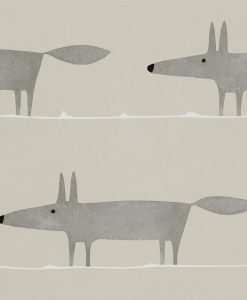 Mr Fox wallpaper in silver