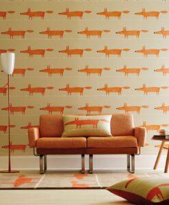 Mr Fox wallpaper in ginger