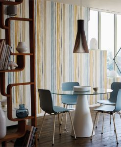 Zing wallpaper by Scion in Denim/Ochre/Slate