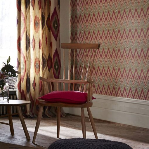 Groove wallpaper by Scion in Chilli and Stone