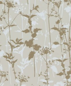 Nettles wallpaper from the Kallianthi Collection by Harlequin, in White and Soft Gold