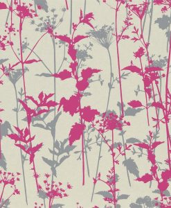 Nettles wallpaper from the Kallianthi Collection by Harlequin, in Pearl, Fuchsia and Dark Pebble