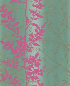 Persphone wallpaper from the Kallianthi Collection by Harlequin, in Ocean, Magenta and Pewter