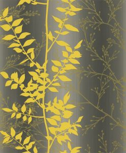 Persphone wallpaper from the Kallianthi Collection by Harlequin, in Slate, Turmeric and Gold