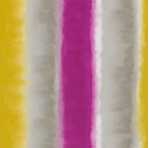 Demeter Stripe wallpaper from the Kallianthi Collection by Harlequin, in Turmeric, Pebble and Magenta