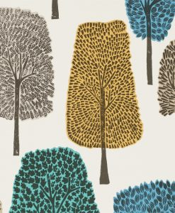 Cedar wallpaper by Scion in Almond, Cobalt and Midnight