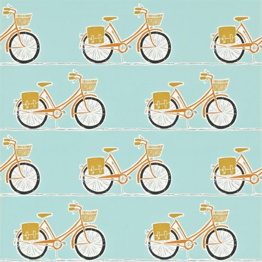Cykel wallpaper from the Levande Collection by Scion in Tangerine, Sulphur, Coal