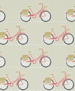 Cykel wallpaper from the Levande Collection by Scion in Poppy, Charcoal, Biscuit
