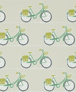 Cykel wallpaper from the Levande Collection by Scion in Ivy, Apple & Slate