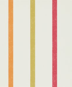 Hoppa Stripe wallpaper from the Levande Collection by Scion in Poppy, Tangerine and Sulphur