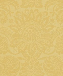 Pomegranate damask wallpaper in Saffron by Zophany