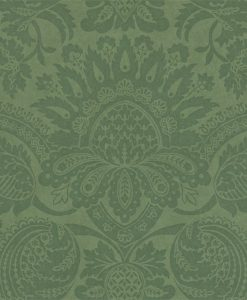 Pomegranate damask wallpaper in Green by Zophany
