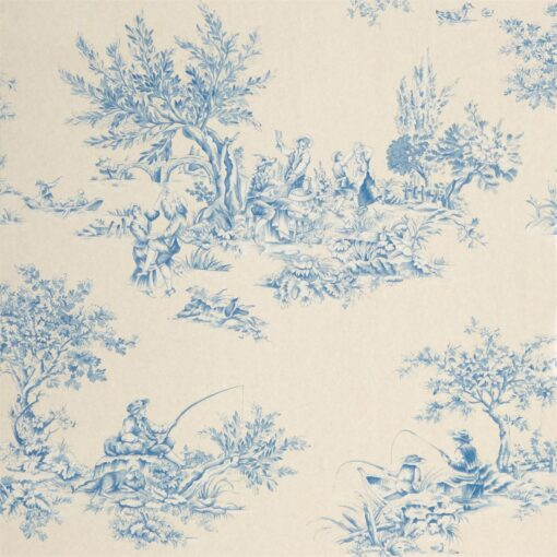 Etienne wallpaper in blue and neutral