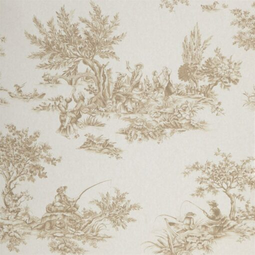 Etienne by Harlequin wallpaper in coffee, gilver and neutral