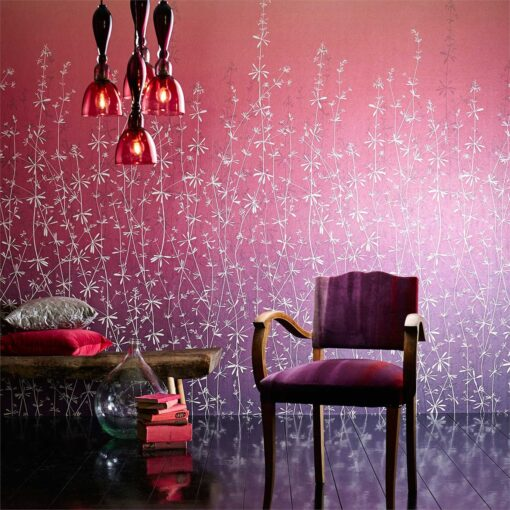 Harlequin Ccallista hortelano-wallpaper-pink-purple-red-white-goose-grass-stems-shades-chair