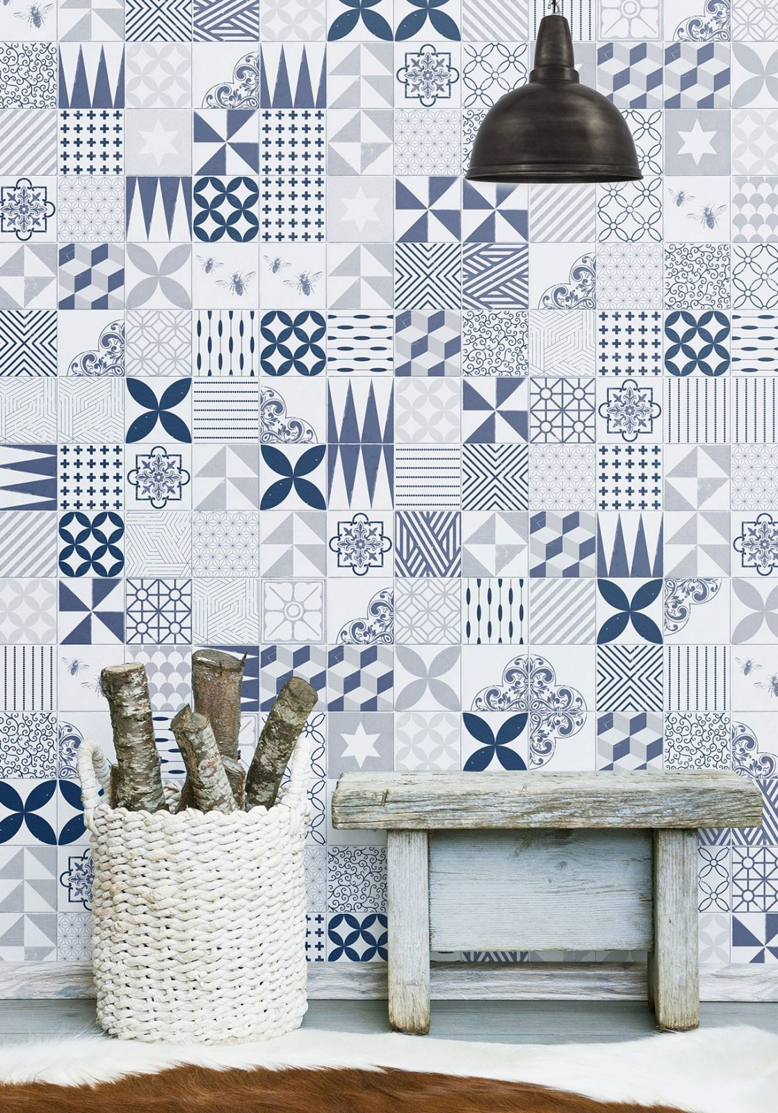 Blue Cement Tiles Wallpaper