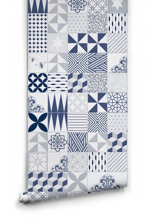 Blue Cement Tiles Wallpaper2