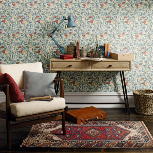 Arbutus Wallpaper from the Morris III Archive collection in a living room