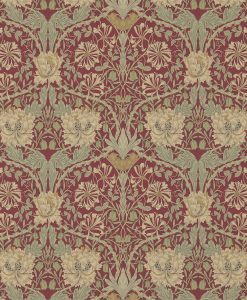 Honeysuckle and Tulip wallpaper design from Morris & Co.