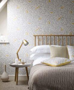 Larksong Wallpaper in a Bedroom