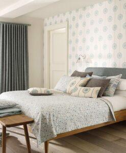 Papavera Tambourine Wallpaper in a Bedroom